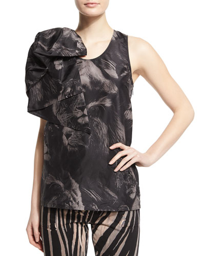 Scoop-Neck Lion-Print Tank W/Bow, Black Pattern