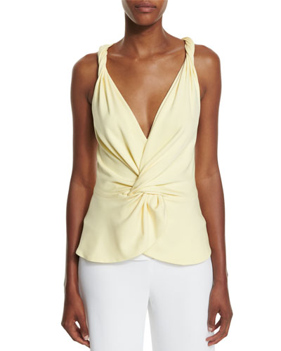 Twisted-Shoulder Knotted V-Neck Tank, Lemon