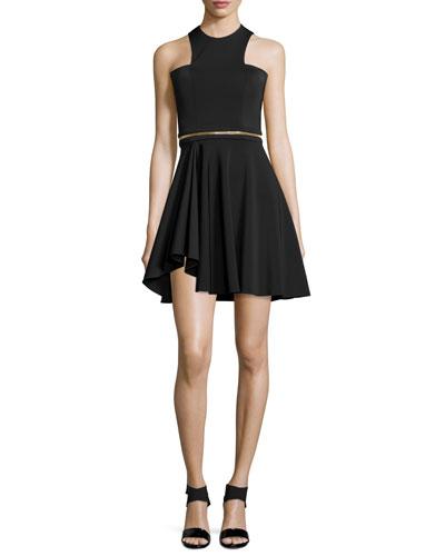 Sleeveless Neoprene Mini Dress, Black