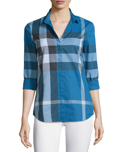 Long-Sleeve Check Button-Front Shirt, Lupin Blue