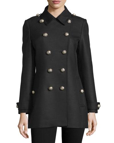 Needlethorpe Military Double-Breasted Coat, Black