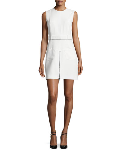 Sleeveless Zip-Front Sheath Dress, Chalk
