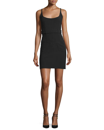 Sleeveless Belted Sheath Dress, Black