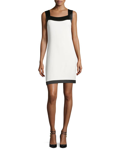 Sleeveless Colorblock Shift Dress, Chalk/Black