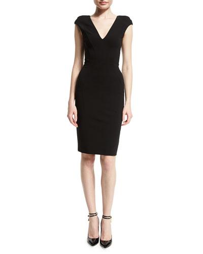 Cap-Sleeve V-Neck Sheath Dress, Black