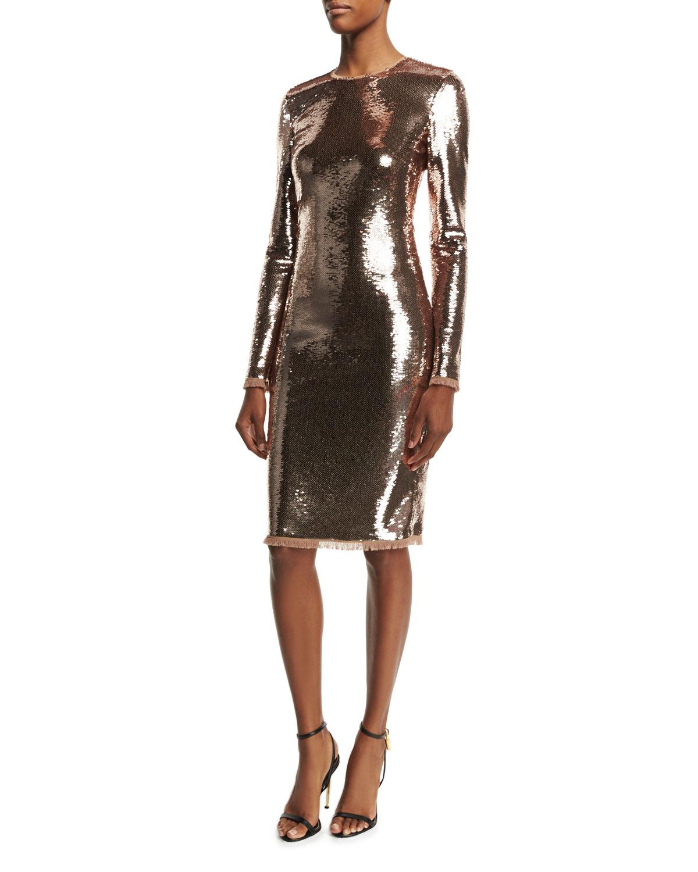 Long-Sleeve Liquid Sequin Dress, Nude
