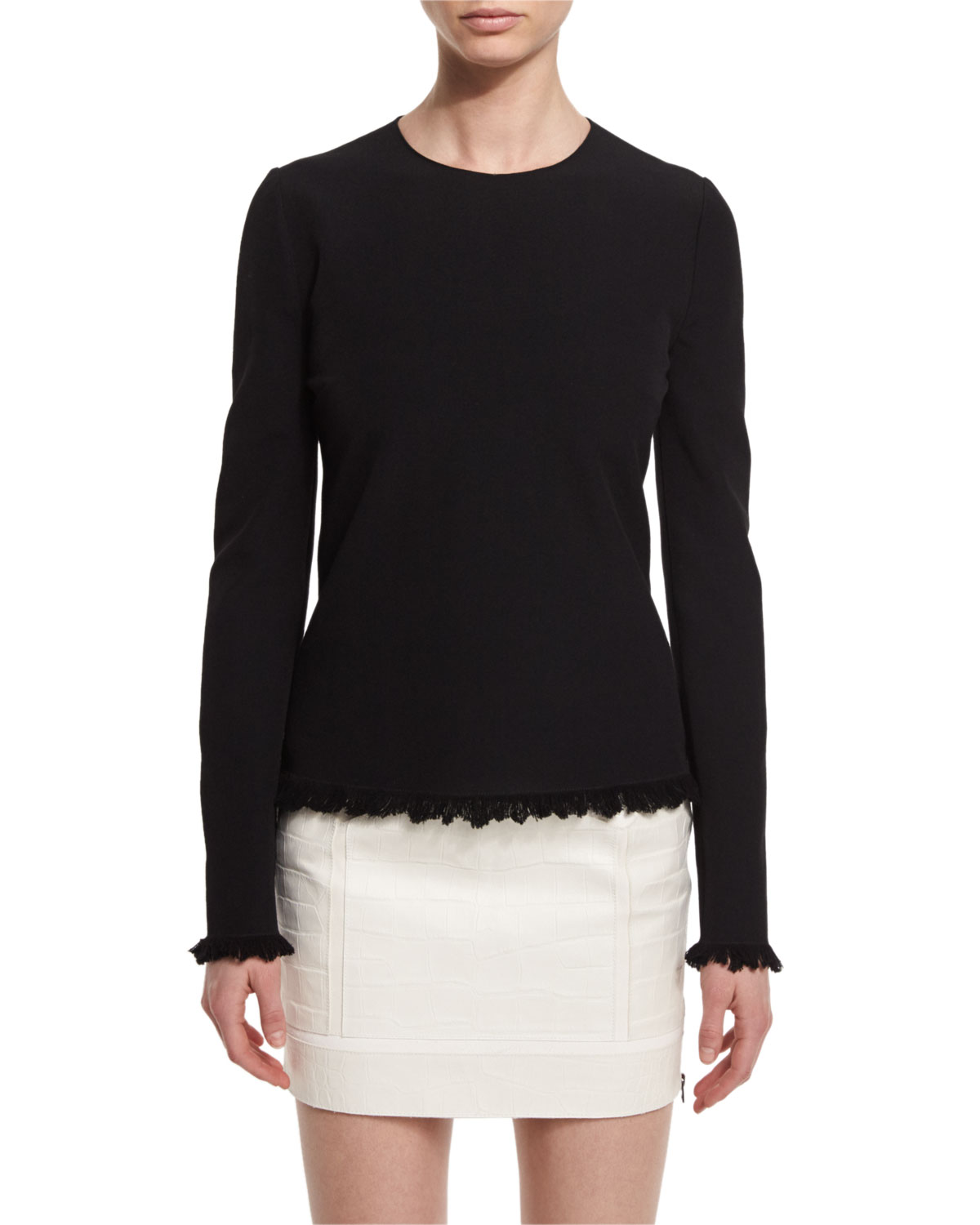 Fringe-Hem Long-Sleeve Sweater, Black