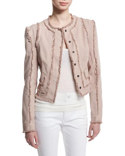 Long-Sleeve Jacket W/Fringe-Seams, Nude/Light Pink