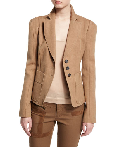 Notch-Lapel Three-Button Fitted Jacket, Sand
