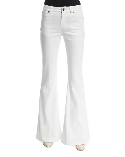 Five-Pocket Flare-Leg Jeans, Chalk