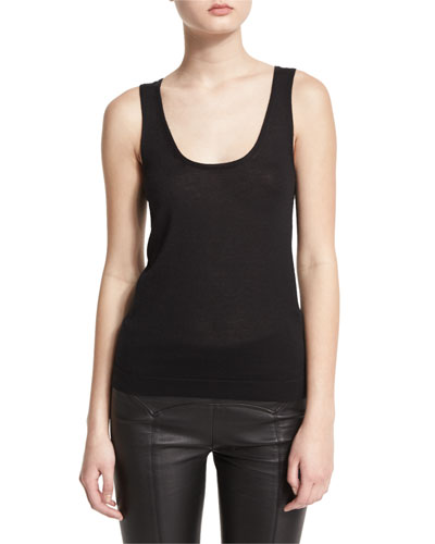 Scoop-Neck Cashmere Tank, Black