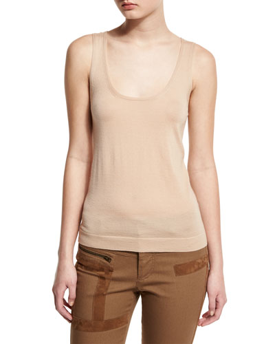 Scoop-Neck Cashmere Tank, Flesh