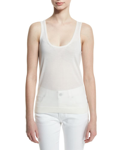 Scoop-Neck Cashmere Tank, White