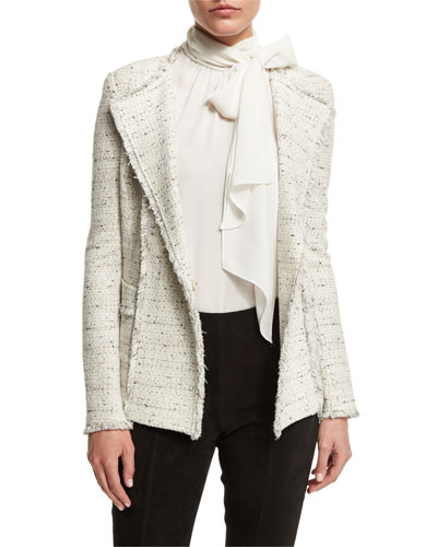 Izza Knit Double-Breasted Jacket, Putty/Multi