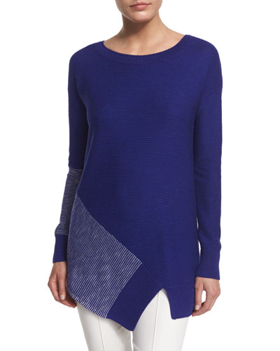 Striped Link-Knit Asymmetric Sweater, Indigo/Multi