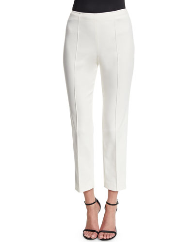 Alexa Stretch Micro Ottoman Capri Pants, Cream