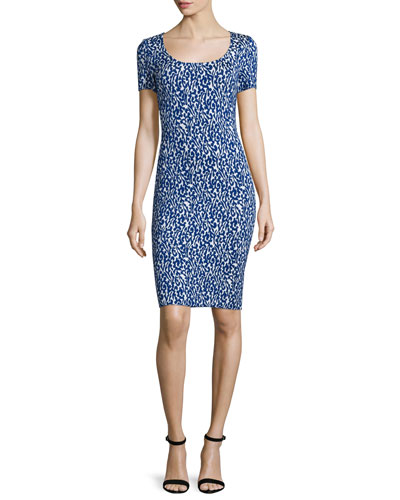 Paisley Knit Square-Neck Sheath Dress, Bianco/Indigo Multi