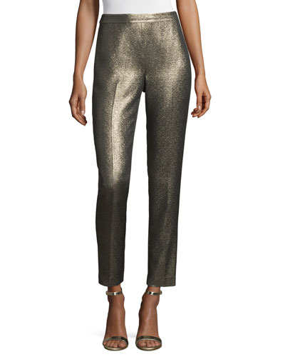 Emma Metallic Tweed Cropped Pants, Gold/Multi