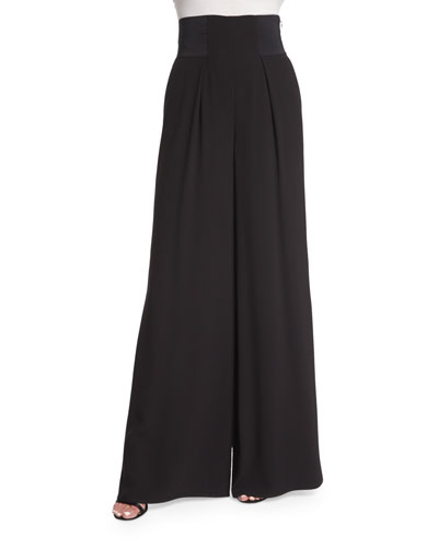 High-Waist Wide-Leg Pants, Caviar