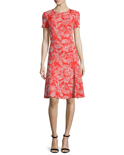 Floral Knit Short-Sleeve Dress, Geranium/Putty