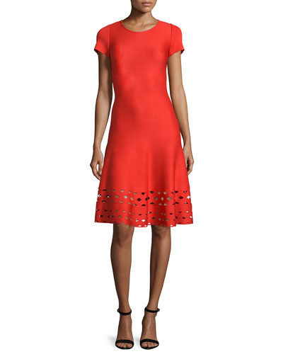 Laser-Cut Knit Short-Sleeve Dress, Geranium