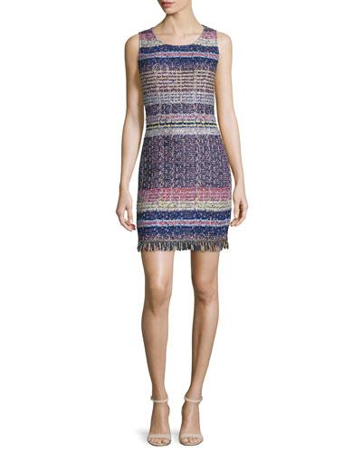 Ellah Knit Scoop-Neck Dress, Indigo/Multi