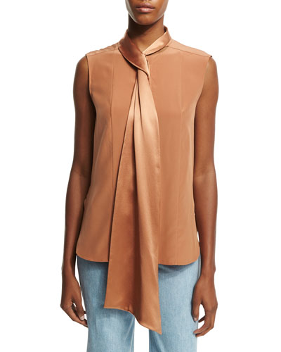 Sleeveless Tie-Neck Blouse, Fawn