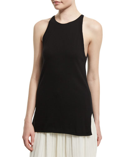 Round-Neck Cashmere Tank, Black/Navy
