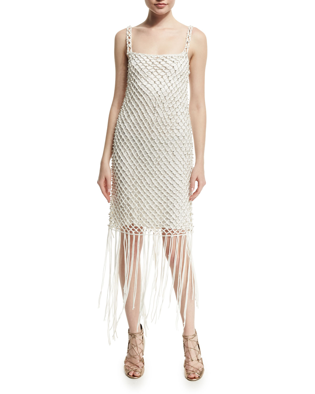 Embellished Macrame Camisole Dress, Ivory