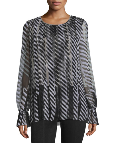 Layered Stencil-Stripe Blouse, Caviar/Multi