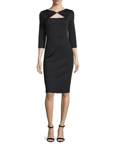 Sequined Knit 3/4-Sleeve Dress, Caviar