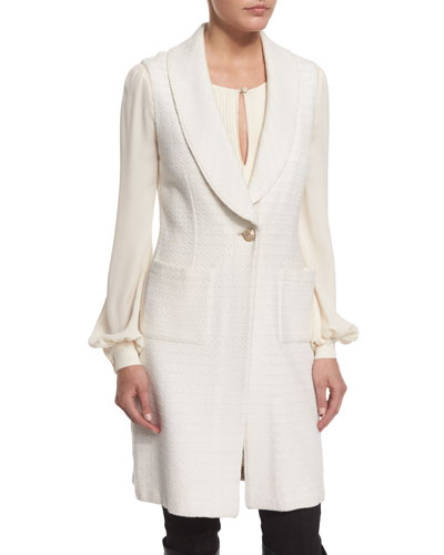 Yani Knit Shawl-Collar Vest, Alabaster