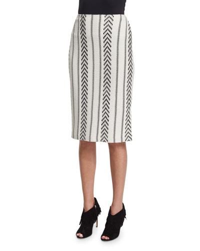 Darya Knit Pencil Skirt, Cream/Caviar