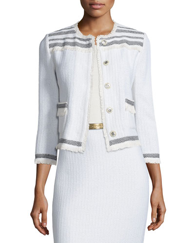 Berber Knit 3/4-Sleeve Jacket, Cream/Caviar