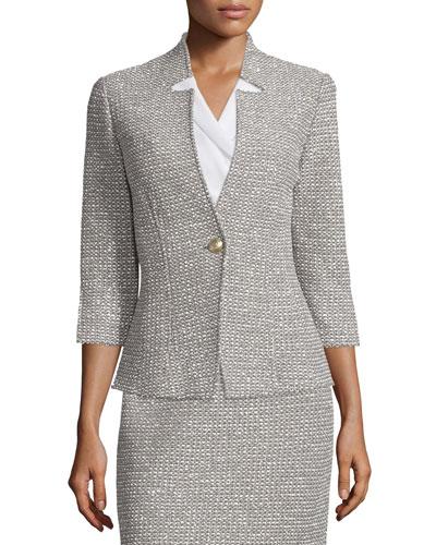 Moorisha Knit 3/4-Sleeve Jacket, Dark Putty