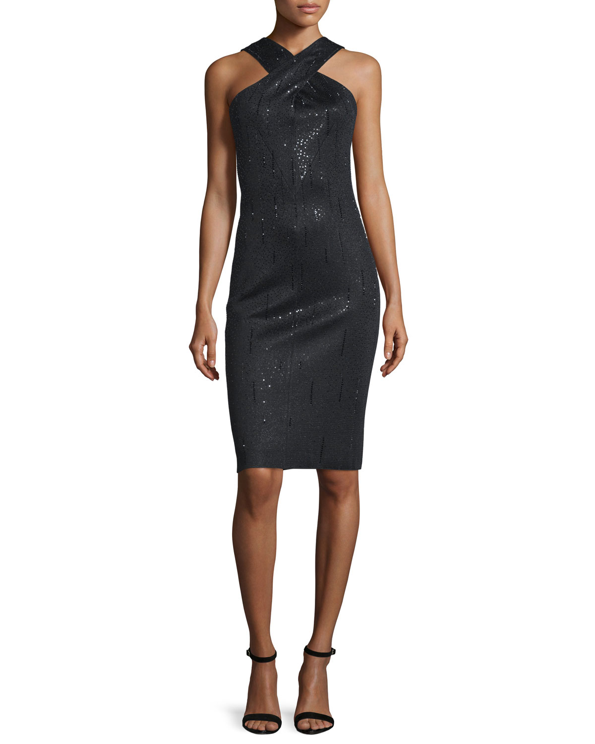 Tula Shimmery Cross-Front Dress, Caviar