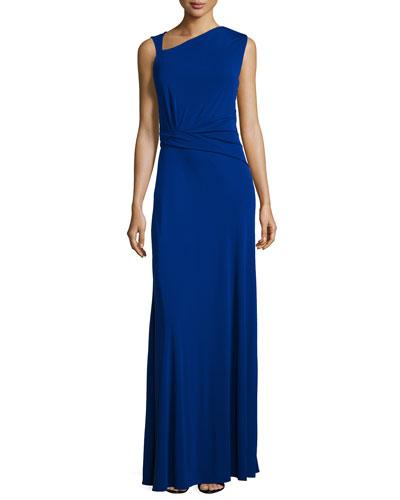 Ruched Matte Jersey Sleeveless Gown, Indigo