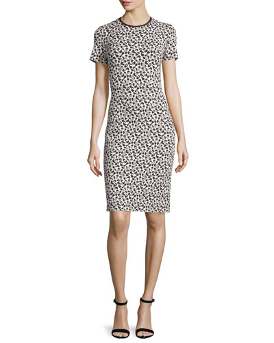 Leopard-Jacquard Short-Sleeve Sheath Dress, Caviar/Multi