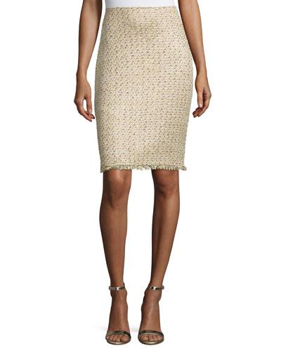 Raffia-Knit Pencil Skirt, Gold/Multi