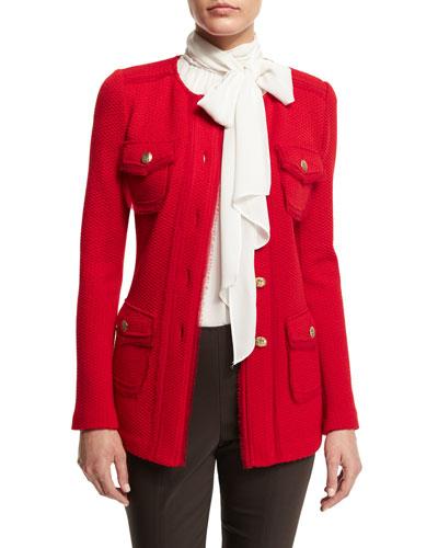 Textural-Twill Jewel-Neck Jacket, Paprika