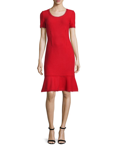 Textured Short-Sleeve Flounce Dress, Paprika