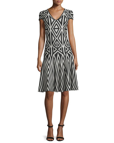 Geometric-Lines Knit V-Neck Dress, Caviar/Sahara