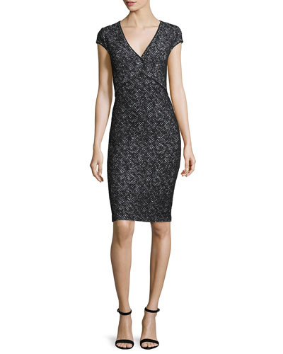 Crisscross Knit V-Neck Cap-Sleeve Dress, Caviar/Bianco