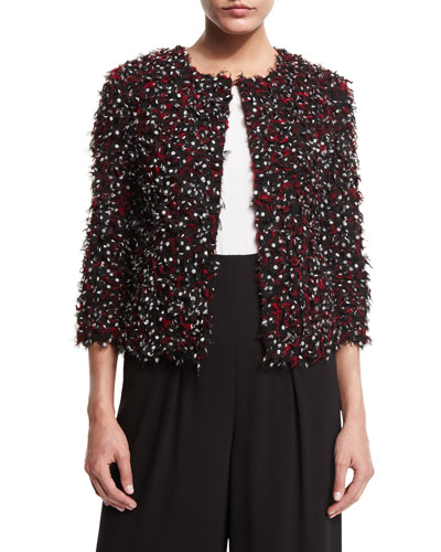 Polka-Dot Ribbon-Tweed Jacket, Caviar/Multi