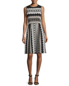 Printed Shimmer-Knit Sleeveless Dress, Caviar/Multi