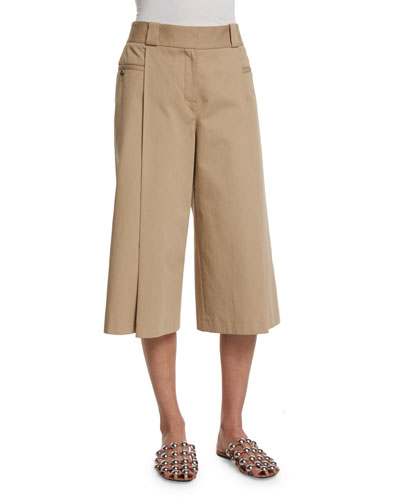 Wide-Leg Cropped Pants, Saddle
