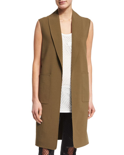 Shawl-Collar Oversized Splittable Vest, Tank