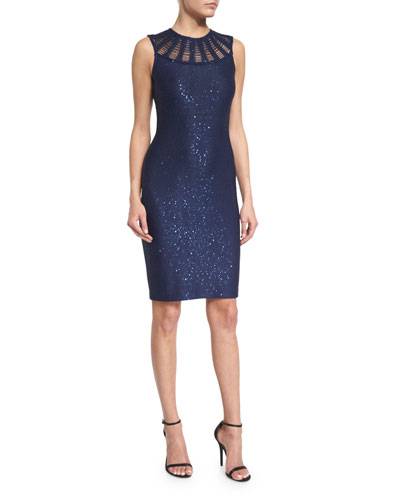 Sequined Knit Jewel-Neck Dress, Sapphire