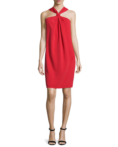 Classic Cady Draped Halter Dress, Paprika