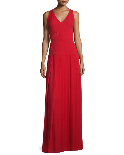 Silk Georgette V-Neck Gown, Paprika